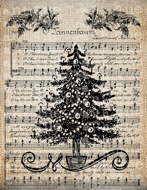 printable vintage christmas sheet music antique music christmas tree holiday song digital download
