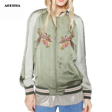 Jaket Parka Green 2016 green bird embroidery jacket pilot jackets top