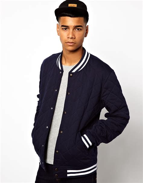 7 Of The Best Varsity Inspired Garments by Lyst Asos Varsity Jacket In Blue For