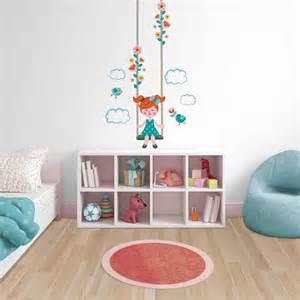 agréable Stickers Pour Chambre Fille #1: sticker-chambre-enfant-fille-fillette-sur-balancoire.jpg