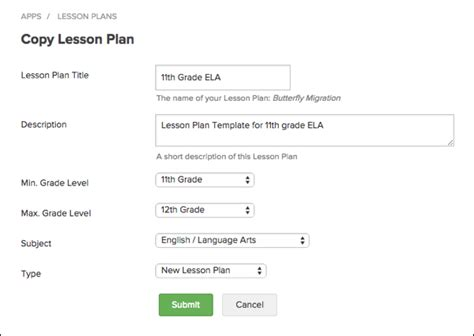 creating a lesson plan template create lesson plan from template engrade pro