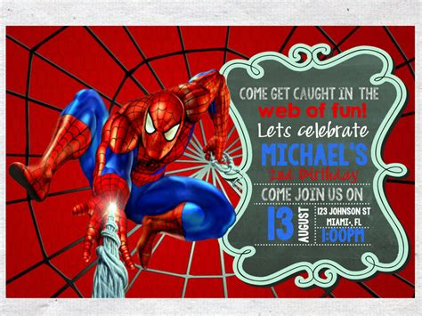 spiderman birthday invitation invite chalkboard chevron
