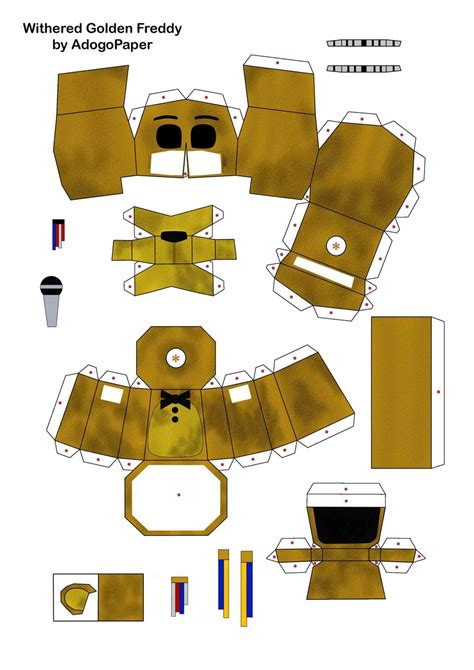 Papercraft How To - fnaf 2 golden freddy papercraft pt1 by adogopaper on