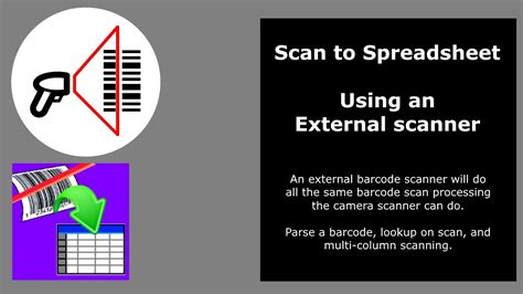 external scan external barcode scanner with scan to spreadsheet