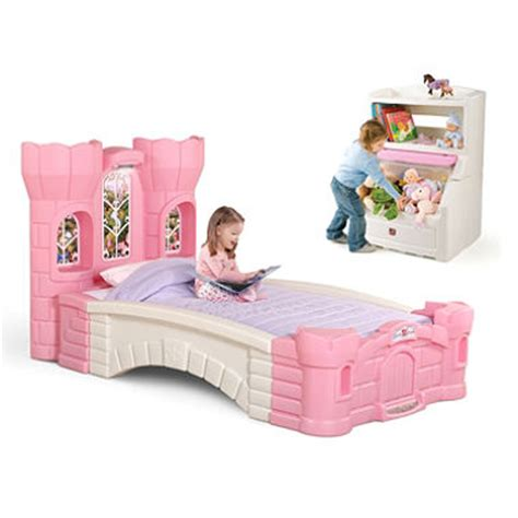 step 2 princess palace bed and a pink lift hide