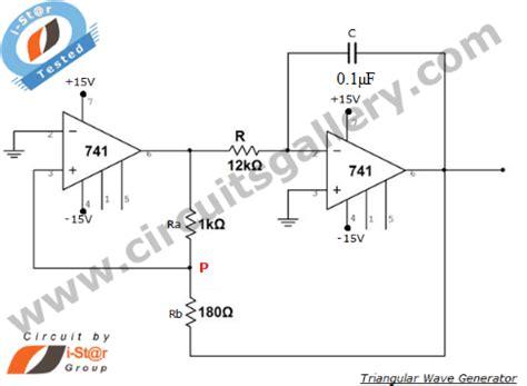 triangular wave generator using op 741 circuit