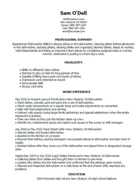 dishwasher description resume resume format