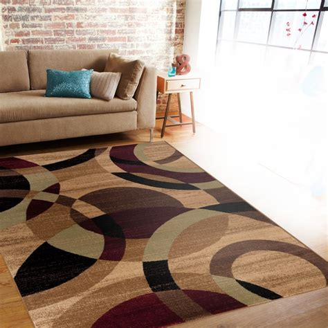 Gold Area Rugs Contemporary Modern Circles Multi Area Rug Abstract 7 10