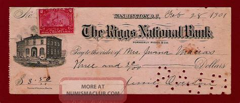Us Bank Background Check United States Riggs National Bank Check 1901 Hawaii Canada Mexico