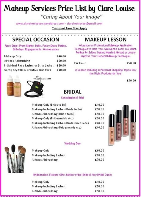 Best Resume Usa by Makeup Services Price List Clarelouisetee