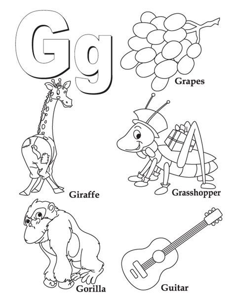 alphabet coloring pages g coloring pages letter g