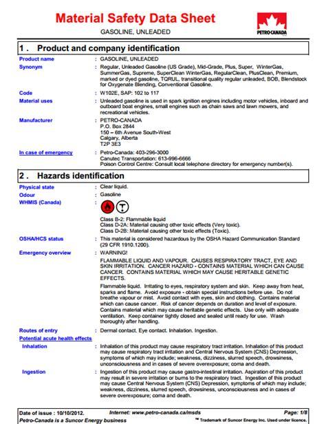 Msds Sections Canada by Gasoline Msds Canada Wroc Awski Informator Internetowy