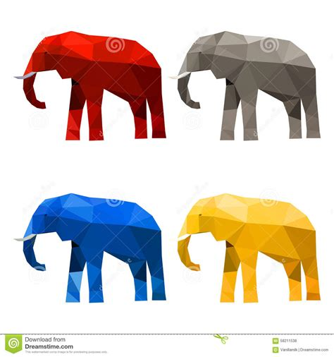 imaginary colors elephant set painted in imaginary colors isolated on white