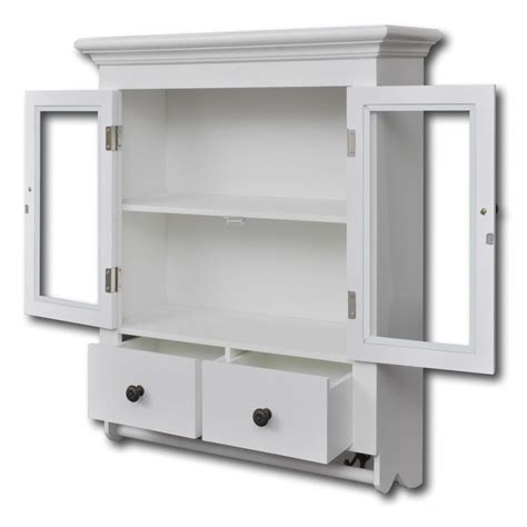 White Wooden Kitchen Wall Cabinet With Glass Door Vidaxl Com Kitchen Wall Cabinet With Glass Doors