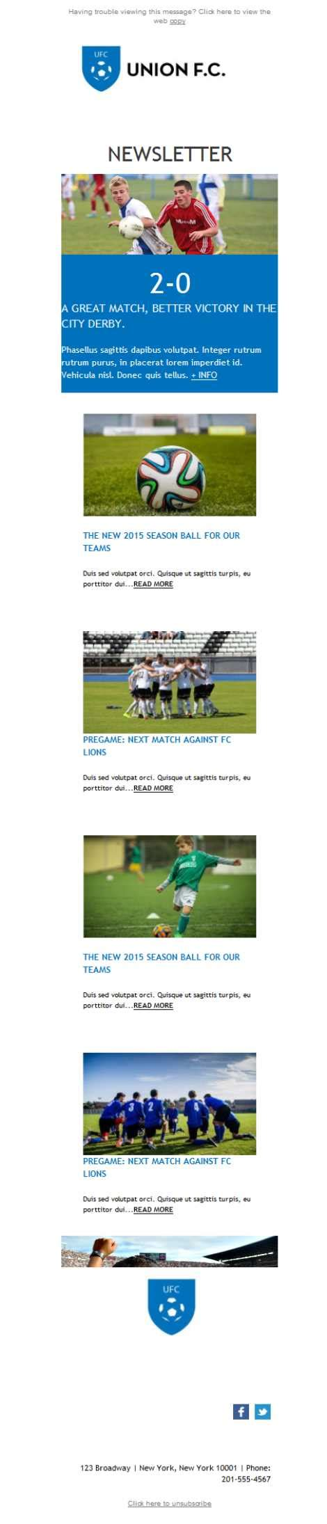 Free Email Templates Download Design Sports Team Soccer Football Email Template