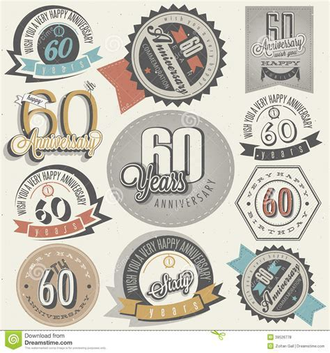 Vintage Style 60th Anniversary Collection. Stock Vector