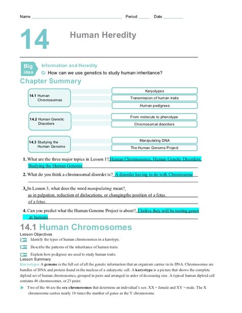 section 14 1 human heredity answers chapter14worksheets