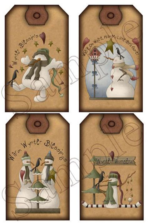 free printable christmas hang tags primitive labels hang tags and winter wonderland on pinterest