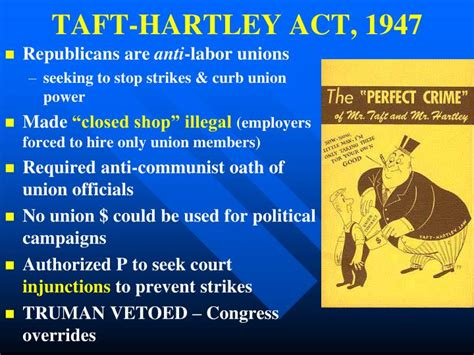 section 14 b of the taft hartley act ppt the truman years 1945 1952 powerpoint presentation
