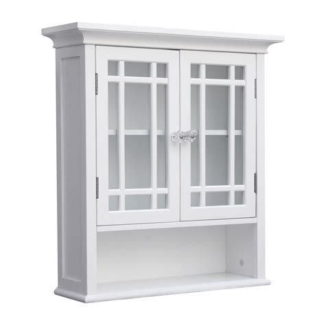 White Bathroom Wall Cabinet Shop Home Fashions Neal 22 In W X 24 In H X 7 In D White Bathroom Wall Cabinet At Lowes