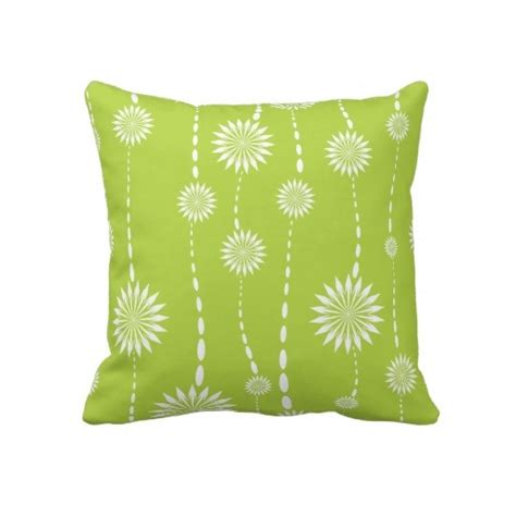 Lime Green Throw Pillows by Modern Lime Green Floral Decorative Throw Pillow
