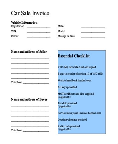sample sales invoice  examples  word