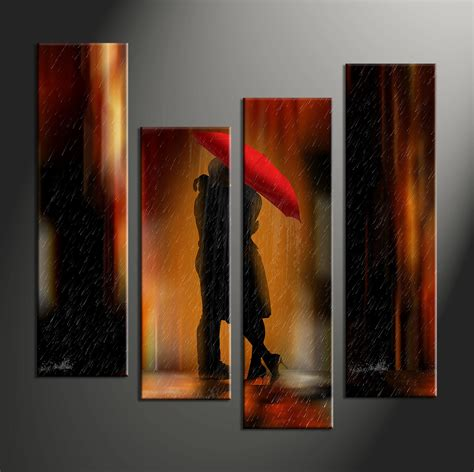 canvas prints 4 piece red modern rain canvas art prints