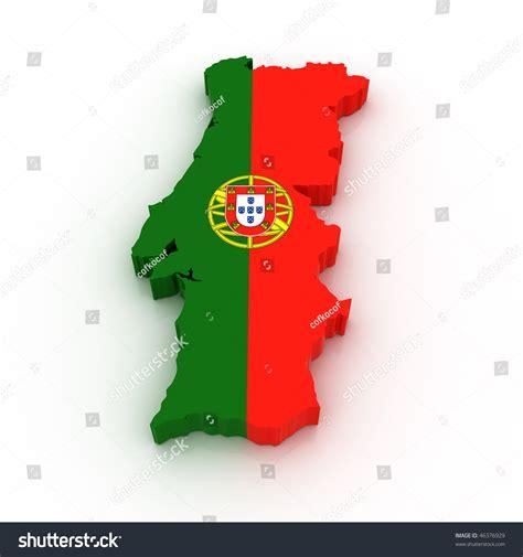 colors in portuguese three dimensional map portugal portuguese flag stock