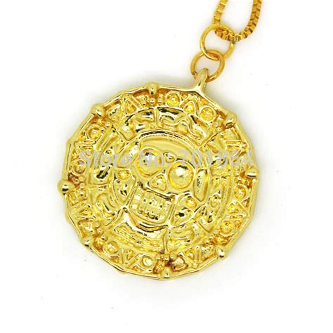 fashion jewelry gold plated aztec coin pendant necklace