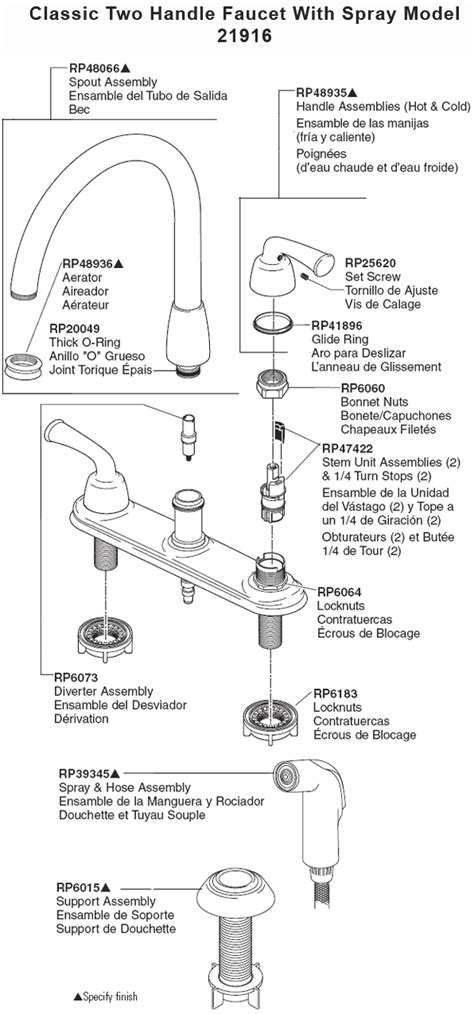 Delta Kitchen Faucet Parts Diagram by Replacement Parts For Price Pfister Kitchen Faucets