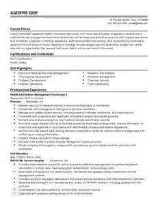 Health Information Technician Sle Resume by Resume Sle Health Information Technology Health Information Technology Resume Sle
