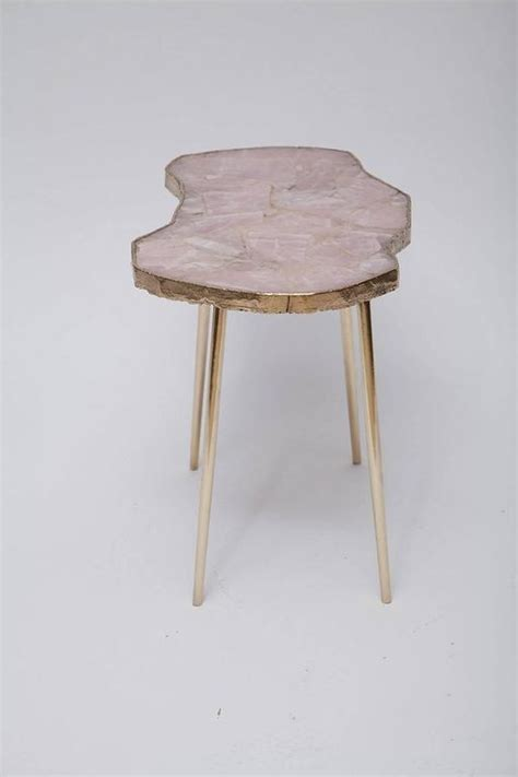 Quartz Side Table Quartz And Brass Side Table At 1stdibs