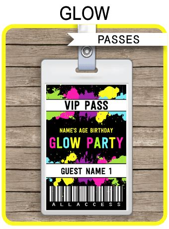 neon glow party vip passes neon glow party decorations