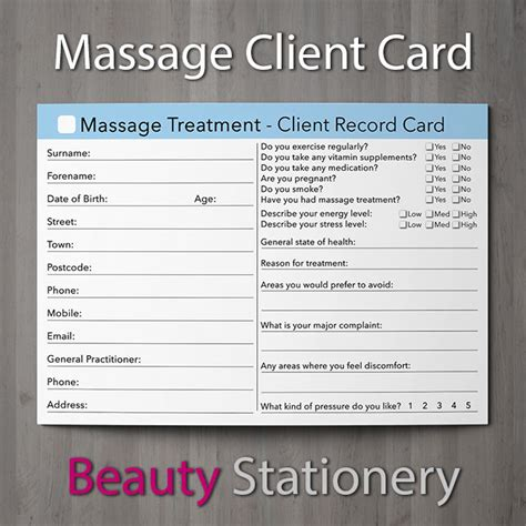 Consultation Cards Template by Client Record Card Treatment Consultation
