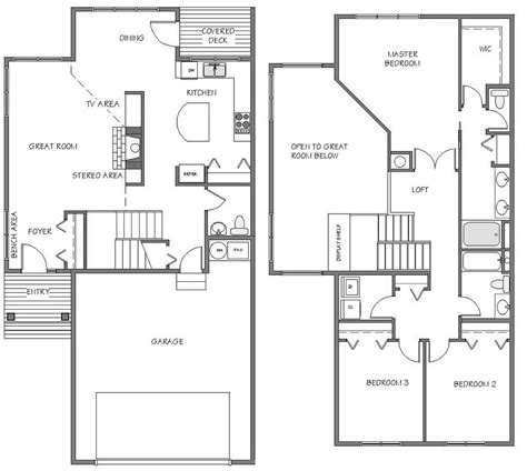townhouse floor plans with garage 2 car garage townhome floor plans google search 8