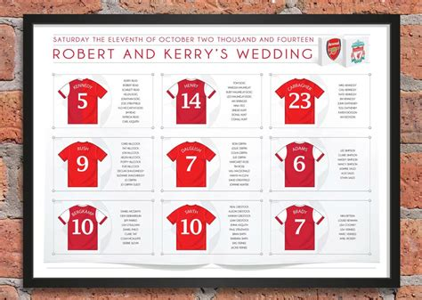 table layout names football themed wedding table plans