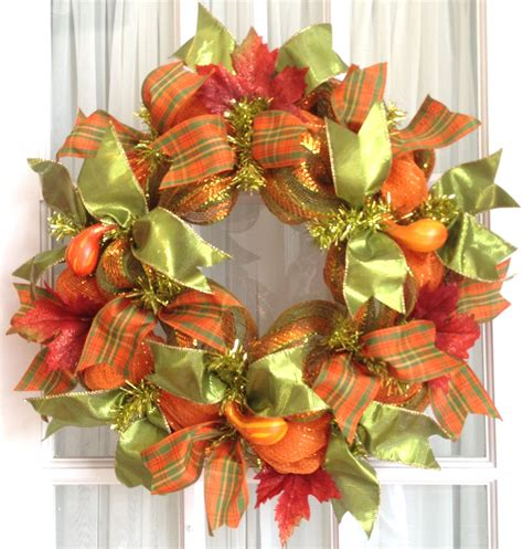 mesh wreath deco mesh wreath fall slim screen door lime orange gourds fall