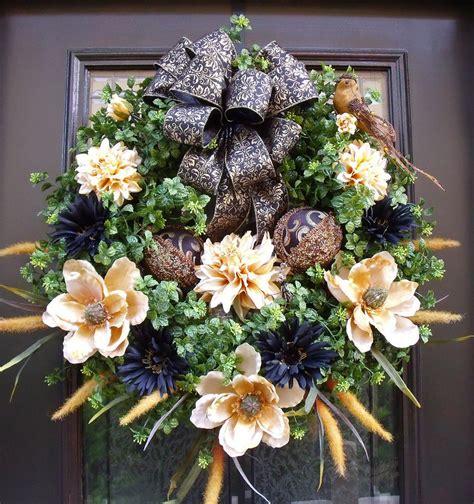 Front Door Wreath Custom Summer Wreath Elegant By Luxewreaths Front Door Wreaths