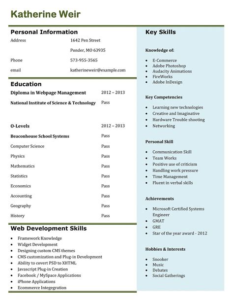 Job Resume Pattern by Best Professional Resume Templates