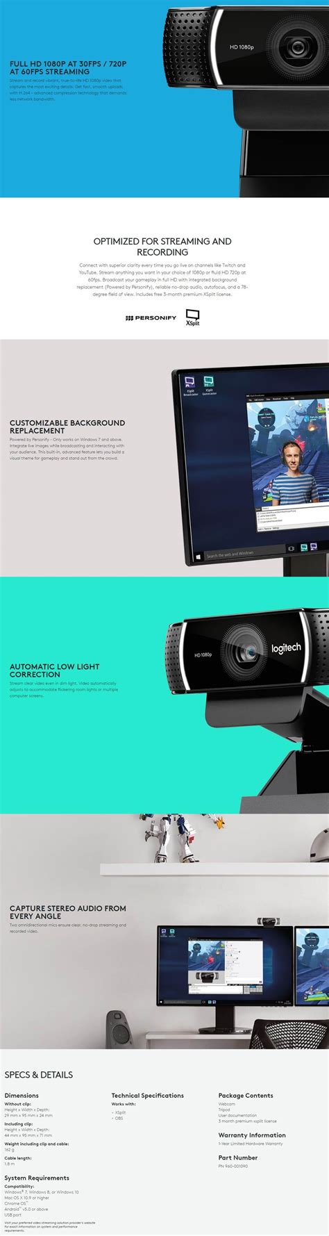 New Logitech C922 Pro Hd 1080p Includ Tripod Logitech C922 Hd Pro Hd 1080p Tripod