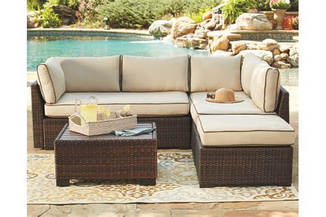 loughran  piece outdoor sectional set ashley furniture homestore