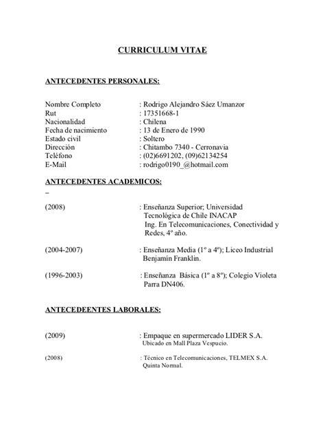 Modelo Curriculum Vitae Inacap Curriculum Vitae Rodrigo S 225 Ez
