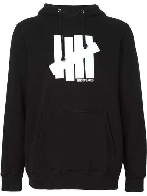 Hoodie Undefeated 1 undefeated logo print hoodie in black for lyst
