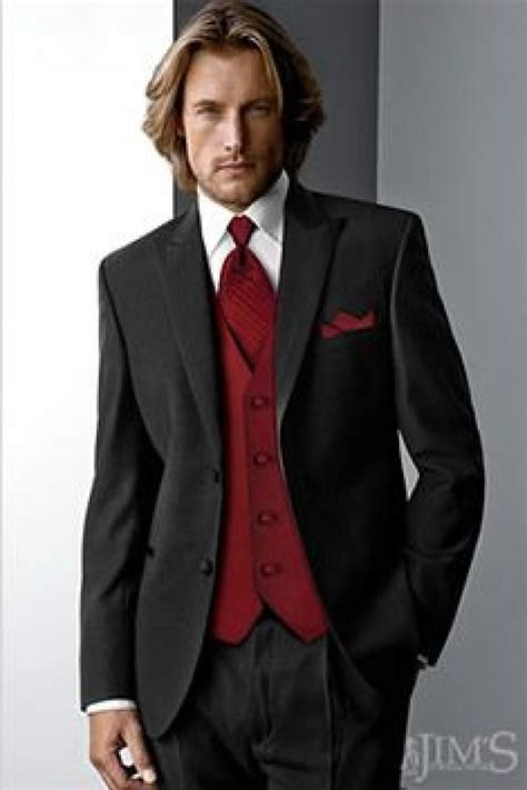 black suit red shirt with vest burgundy wedding groomsmen have red vest 2060861 weddbook