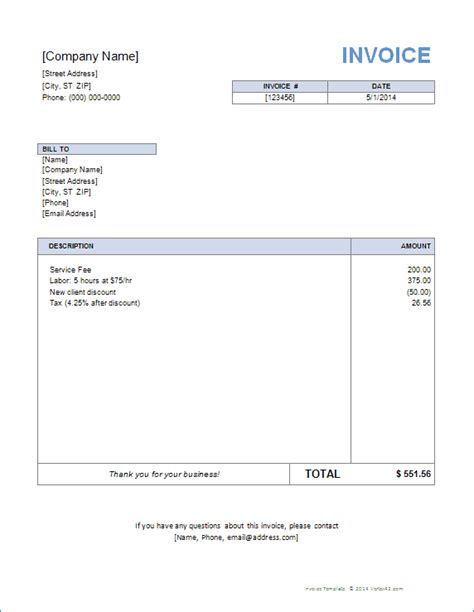 Microsoft Word 2007 Invoice Template by Invoice Template For Word Free Basic Invoice