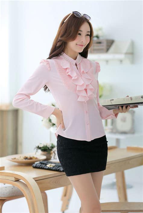 Ruffle Korea Top Blouse 2014 korean formal blouse ruffle sleeve stand collar