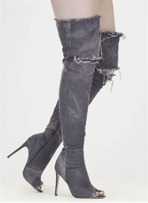 distress signal denim thigh high boots ltblue mediumblue