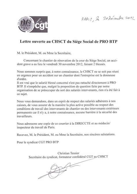 siege pro btp lettre ouverte au chsct du si 232 ge social de pro btp le