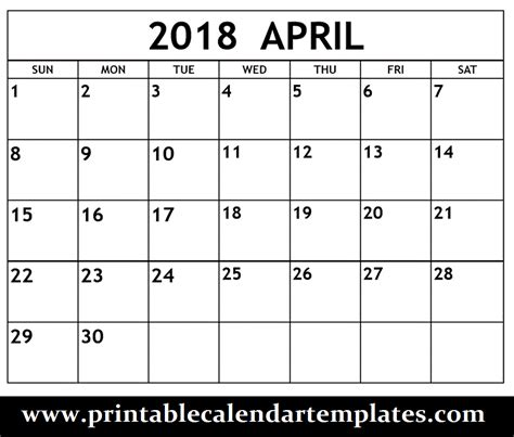april 2018 calendar blank template april 2018 printable calendar template printable