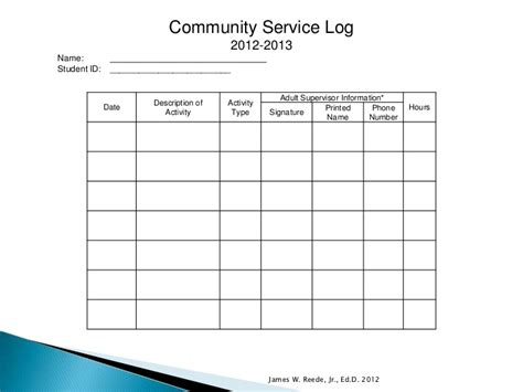 Community Service Log Students Must how to earn scholarships 8 22 2012